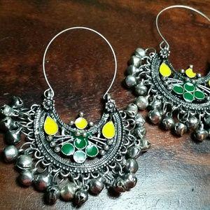Onyx Gemstone Tribal afghan earrings sterling new